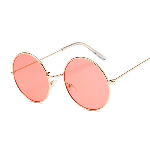 2019 Retro Round Pink Sunglasses Women Brand Designer Sun Glasses Alloy Mirror Female Oculos Black,GoldRed