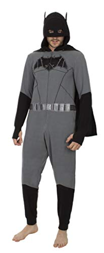 Batman Union Suit Pajama with Drop Seat & Cape, Size XL Gray