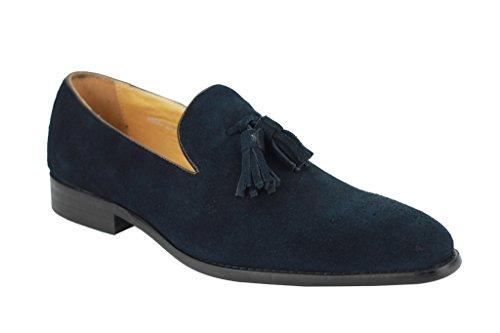 Herren Echt Wildleder Leder blau & grün Smart Lapsus Quaste Slipper Vintage Schuhe Marineblau