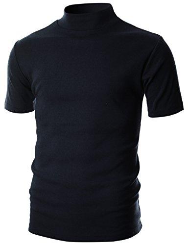 - OHOO Mens Slim Fit Flice Short Sleeve Pullover Lightweight Mockneck/DCT105-NAVY-M