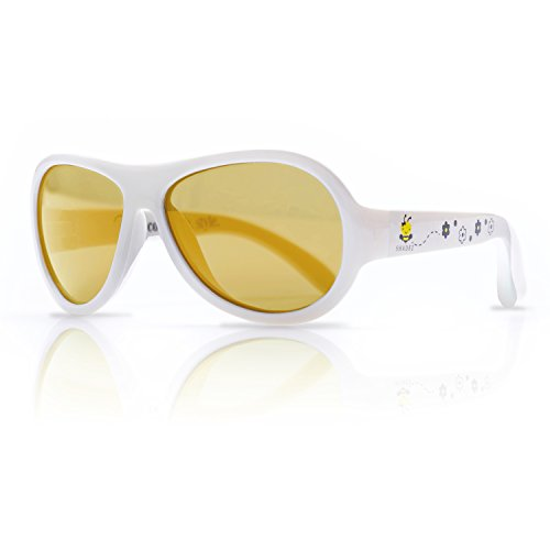 SHADEZ Kids Flex Frame Designer Aviator Sunglasses -Busy Bee, White, 0-3 Years - 100% UV Protection for Baby, Children and - Sunglasses Designer Baby