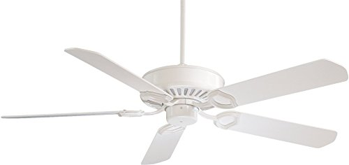Minka-Aire F588-SP-WH Downrod Mount, 5 White Blades Ceiling fan, White
