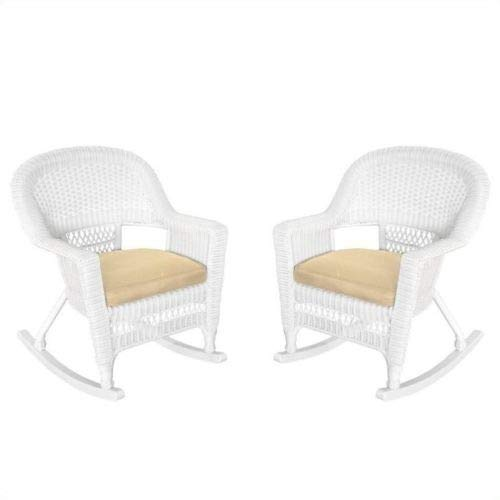 White Straw-Plaited Rocking Rocker Set of 2 Sound Recliner Wicker-Work 2 Pcs Weaving Bench Armchair with Brown Cushion Handicraft Furniture Outdoor Children Chair (Victorian Wicker Rocking Chair)