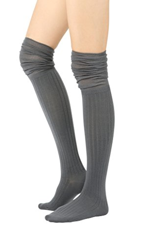 STYLEGAGA Fall Winter Slouch Top Over The Knee High Knit Boot Socks (One Size : XS to M, Slouch Top_Rib (Pointelle Over The Knee Sock)