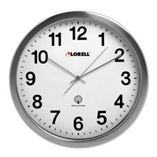 Lorell Brushed Nickel Plated Alarm Wall Clock