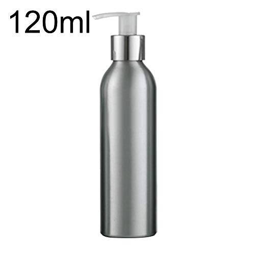 - longdelaY6 Empty Bottle Container, 40ml-250ml Rustproof Aluminum Bottle Storage Lotion Sanitizer Pump Container - Silver 120ml