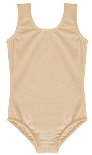 Dancina Leotard Tank Top Cool Comfy Cotton and Spandex Unitard For Girs' Activewear 8 Beige