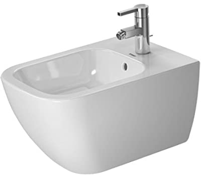 """Happy D.2 Bidet wall mounted with overflow, with tap platform, overflow clip chrome included, Durafix included, 14"""" x 21 1/4"""""""