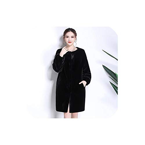 dream-higher Faux Fur Coat Shoulder Thicken Warm Fake Sheared Mink Fur Jackets Furry Outwear 6XL 7XL,Black,7XL