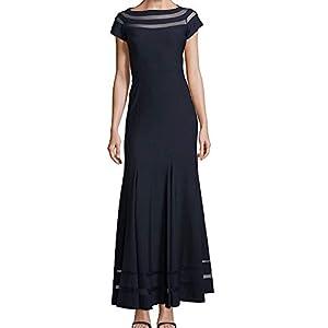 JS Collections Illusion Striped Women s Sheath Gown Black 6 4ef4253de