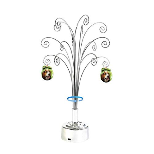 HOHIYA Metal Ornament Display Tree Rotating Stand Christmas Clear Ball Bauble Ornaments Chrome Plated Gift Dog Cat Photo Glass Personalized Decorations (Photo Holding Ball)