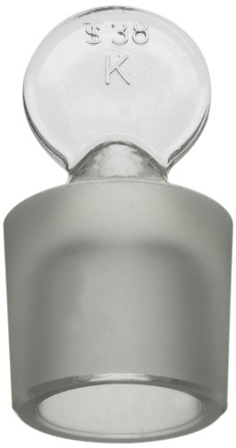 Glass Pennyhead Stopper - Kimax 41900R-13 Solid Glass Pennyhead Stopper for Flask, 13 Size