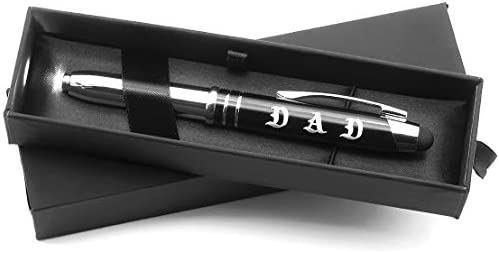 DAD Engraved Multi-function Luxury Gift Pen with Flashlight Touch Stylus and Writing Tip Fathers Day Christmas Birthday Gift Idea for Dad from Son Daughter Kids
