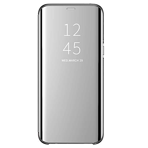 Case for Galaxy S7 Edge Mirror Case, Cover Luxury Electroplate Flip Clear View Mirror Protective Hard Cover S-View flip Cover Kickstand Back Shell (Gray)