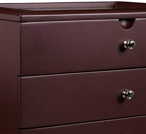 Relaxdays 10020419/_46 fen/être et 2 Grands tiroirs Bo/îte /à Bijoux en Bois Noir 17 x 25,5 x 21 cm