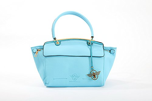 QSL - Bolso estilo cartera de poliuretano para mujer turquesa azul celeste