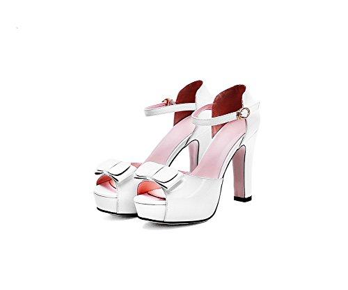 AllhqFashion Women's Soft Material Peep Toe High-Heels Buckle Solid Sandals White TgLd0bV5OZ