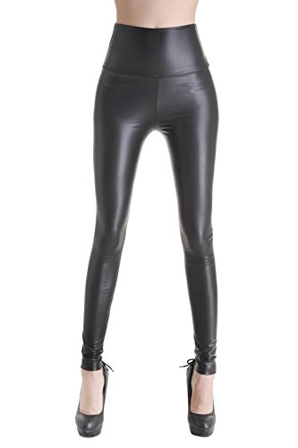 Sexy Ladies High Waist Wet Look Faux Leather Leggings Pants Tights - Matt black - 2