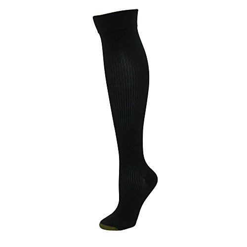 - Gold Toe Women's Moderate Compression Ribbed Over the Calf Socks, 1 Pair, Black, Shoe Size: 6-9