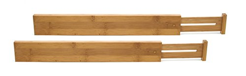 Lipper International 8896 Bamboo Wood Custom Fit Adjustable Kitchen Drawer Dividers, Set of 2 (Lipper Bamboo)