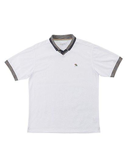 アーノルドパーマー メンズ ゴルフ ポロシャツ 半袖 メランジ衿スキッパー半袖シャツ AP220101H02 WH/NV M