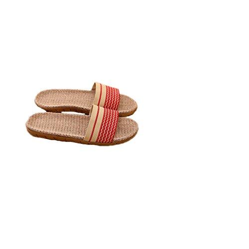 Tellw Pantofole Di Lino Casa Paio Pantofole Interne Pavimento In Legno Casa Antiscivolo Fondo Spesso Pantofole Fresche Estate Rosso