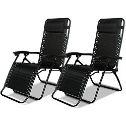 Caravan Canopy Black Adjustable Zero Gravity Chairs 80009000052 (Pack Of  Two)