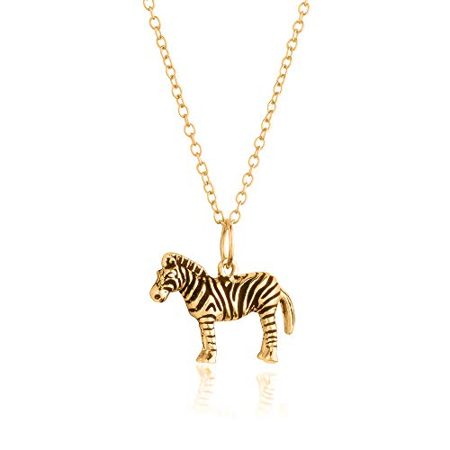 Sterling Silver 18K Yellow Gold Plated 3D Zebra Pendant/Charm, with 18-Inch Chain - in Beautiful Antique Brushing