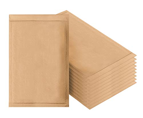 Amiff Natural Kraft Bubble mailers 10.5 x 15 Brown Padded envelopes 10 1/2 x 15 Pack of 10 Kraft Paper Cushion envelopes. Exterior Size 10.5 x 16 (10 1/2 x - Mailer Kraft Brown