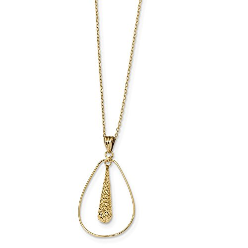Solid 14k Yellow Gold Polished Diamond-Cut Tear Drop Dangle Necklace Chain 18