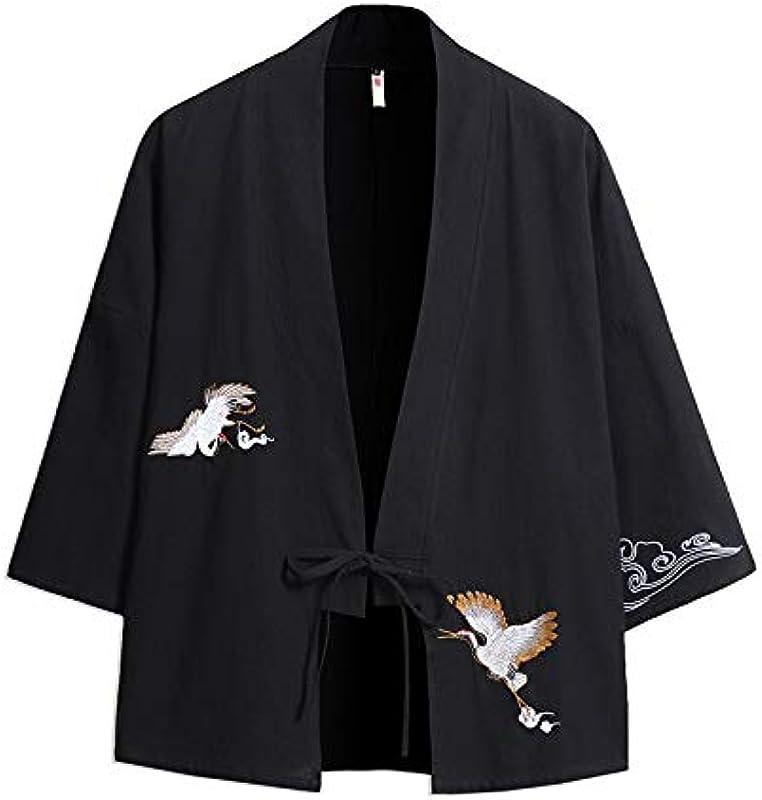 Haori Kimono Cardigan, Japanische Kimono Męskie, Męskie Kimono Cardigan Mantel Stickerei Einfarbig Dreiviertelärmel Lose Yukata Kordelzugverschluss,Black-4XL: Küche & Haushalt