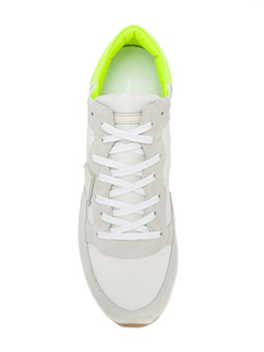 Philippe Model Zapatillas de Piel Para Hombre Blanco Bianco/Giallo