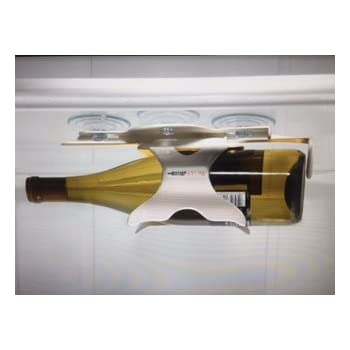BEVSTOW Refrigerator Wine Bottle Storage Rack. Space Saving Organizer. Easy Suction Install