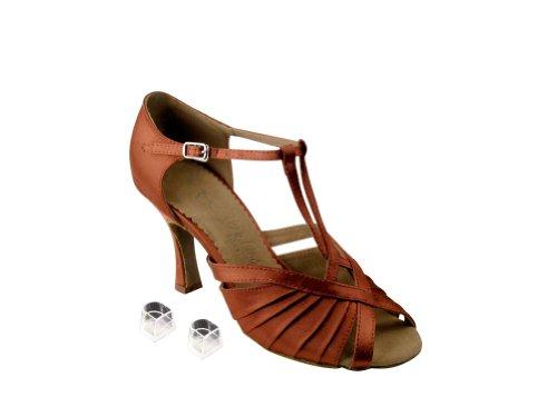 Bellissime Scarpe Da Ballo Da Donna Per Donna Eksera2707 Con 2,5 Tacco In Raso Marrone Chiaro