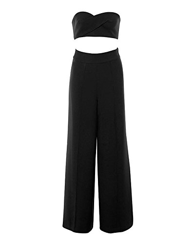 Whoinshop High Waist Wide Leg Two Pieces Bustier Trousers Set Party Pants (S, Black)