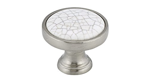 Richelieu Hardware - BP4418195304 - Eclectic Metal and Ceramic Knob - 4418 - Crackle White Brushed Nickel  Finish (Richelieu Classic Ceramic)