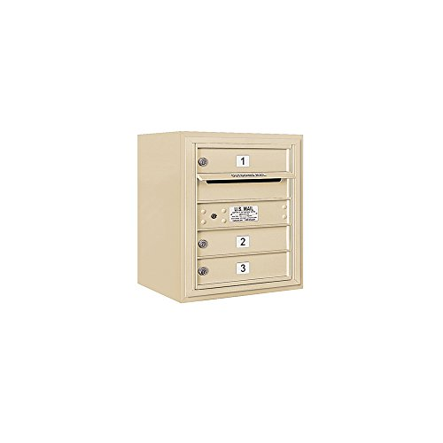 - Salsbury Industries 3805S-03SFU Horizontal (Includes 3705S-03SFU 3805S-SAN Enclosure) -Single Column Doors Loading Access Surface Mount 4C Mailbox Unit-SGL Col-3 MB1 DRS-Sandstone-Front-USPS