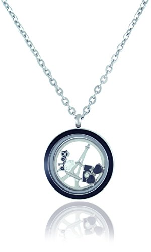 BG247 Stainless Steel Floating Adjustable Locket Necklace with Choice of 6 Charms and Matching Chain (Twist Black Circle)