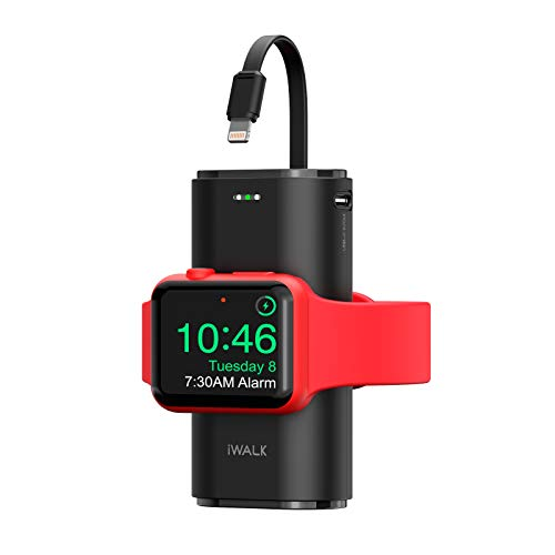 iWALK Portable Watch Charger, 9000Mah Power Bank with Built in Cable