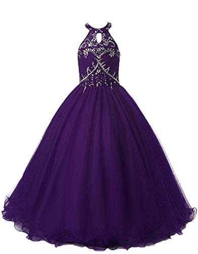 (HEIMO Long Beading Ball Gown Formal Party Dress Flower Girl Halter Sequins Pageant Dresses H193 8 Grape)