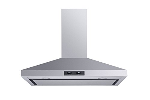 Winflo 30 Convertible Stainless Steel Wall Mount Range Hood with Stainless Steel Baffle filters or Mesh Filters, LED lights and 3 Speed Push Button Control (With stainless steel panel)