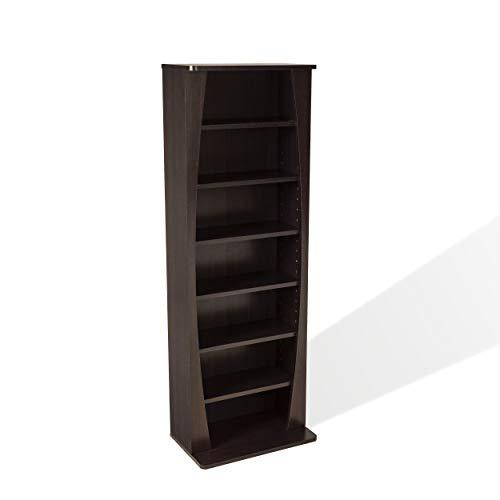 Atlantic Canoe Curved Multimedia Cabinet - Holds 231CDs, 115DVDs or 140 Blu-Ray/Games, Adjustable Shelves, PN22535717 in Espresso