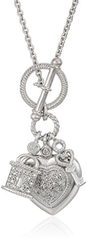 (Sterling Silver Diamond Heart, Lock and Key Charm Pendant Toggle Necklace (1/5 cttw), 18