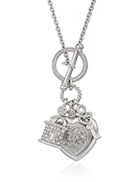 """Sterling Silver Heart, Lock and Key Toggle Charm Diamond Pendant Necklace (1/5 Cttw) 18"""""""