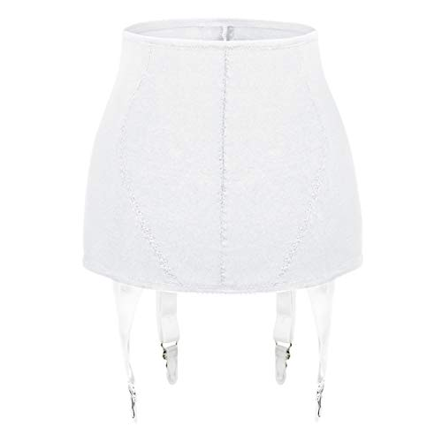 Slocyclub Garter Belt for Woman Sexy High Waist 4 Wide Strap Metal Clip for Thigh High Stockings(White,XXL)