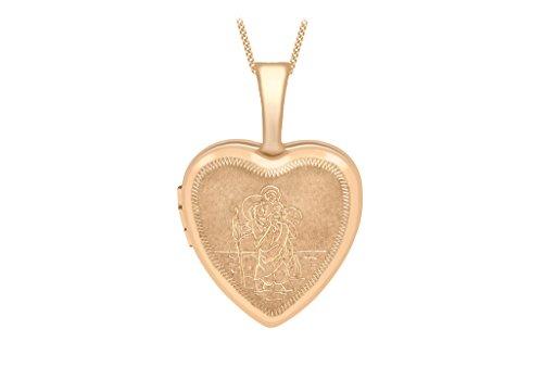 """Médaillon petit coeur gravé St Christophe en or rose 9carats sur Chaîne 46cm/18"""""""