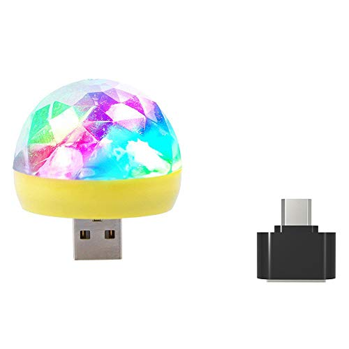 JP-DPP9USB Mini LED RGB Disco Stage Light Party Club DJ KTV Xmas Magic Phone Ball Lamp for Christmas, Home Activities, Entertainment, Festivals, Etc. (Yellow)