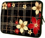 Flowers on Black Plaid 13-Inch Notebook Laptop Sleeve Bag Carrying Case for MacBook, Acer, ASUS, Dell, HP, Lenovo, Sony, Toshiba - Red