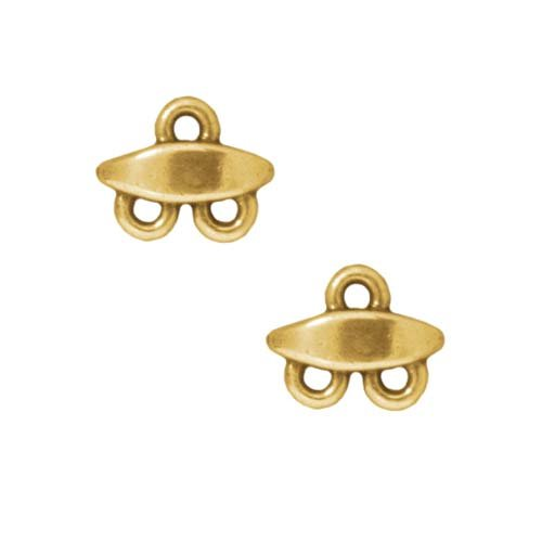 TierraCast 22K Gold Plated Pewter Bead Almond Double Strand Reducer (2)