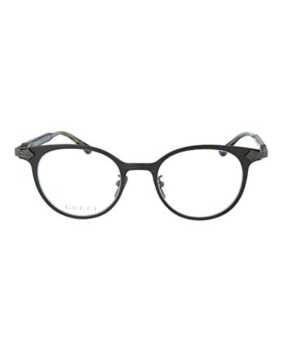 - Gucci GG 0068O 002 Brown Ruthenium Titanium Round Eyeglasses 49mm